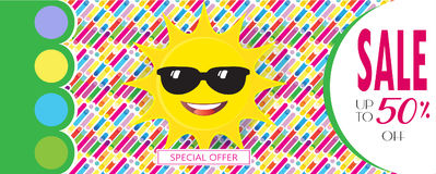 Sale Summer. Summer Sale Discount banner vector template. 3D sun with sunglasses, abstract dynamic exotic background. Love, romantic sales poster. Advertising Royalty Free Stock Image