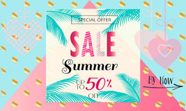 Sale Summer. Summer Sale Discount banner. Vintage.  Abstract tropical vector template. 3D heart, tropical frame,  lettering, abstract dynamic exotic background Royalty Free Stock Images