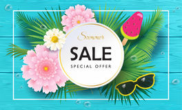 Sale. Summer final Sale special offer gift banner. Beautiful exotic flowers frame, ice cream, sunglasses, floral tropical palm leaves background, blue wood Stock Photo
