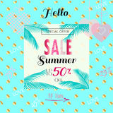 Sale Summer. Hello Summer Sale Discount banner. Abstract tropical vector template. Heart, tropical palm tree leaves frame,  sky, lettering, abstract dynamic Stock Photos