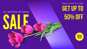 Sale, summer sale, get your discount. Horizontal ad with a bouquet of tulips on a colored background. Template for vector illustration
