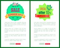 Sale Summer 2018 Special Offer Promotional Emblems. Sale summer 2018 special offer 10 promotional emblem on tropical banners. Seasonal discount sale label in vector illustration