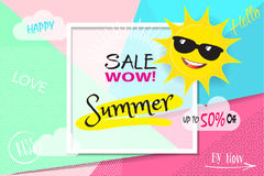 Sale Summer. Summer WOW Sale Discount banner. Abstract tropical vector template. 3D heart, tropical frame, Sun with sunglasses, lettering, abstract dynamic Royalty Free Stock Image