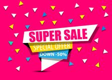 SALE,SUPER SALE,BIG SALE,DISCOUNT,50%,SHINING BANNER,SALE BACKGROUND,SPECIAL OFFER,SHINING BANNER ON COLORFUL BACKGROUND,GEOMETRIC. FIGURE,FOURTH EDITION royalty free illustration