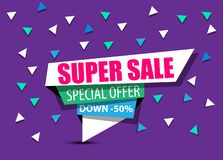 SALE,SUPER SALE,BIG SALE,DISCOUNT,50%,SHINING BANNER,SALE BACKGROUND,SPECIAL OFFER,SHINING BANNER ON COLORFUL BACKGROUND,GEOMETRIC. FIGURE,FOURTH EDITION stock illustration