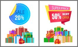 Sale 20 50 Super Price Premium Quality Best Offer. Sale 20 super price premium quality best offer 50 off label emblem ribbon and piles of gift boxes in color Royalty Free Stock Photo