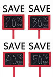 On Sale Savings. Composite image of rough textured blackboard with red trim and a percentage discount ranging from 20 percent to 50 percent off stock photography