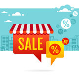 Sale symbol. Speech bubbles with awning Stock Photos