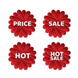 Sale symbol, blommavektor, klistermärke, etikett, knappar, etiketter, befordranbaner, marknadsföring, designbeståndsdelar stock illustrationer