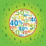 Sale Symbol in Circle with Dollar Icons Royalty Free Stock Image
