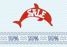Sale symbol på blå bakgrund Positiv stil delfin också vektor för coreldrawillustration stock illustrationer