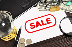 Sale symbol on paper Royalty Free Stock Photo
