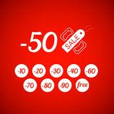 Sale symbol with percent discount, tag and dollar Stock Photography