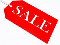 Sale tag. A sale tag in red isolated on white Stock Photo
