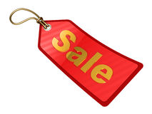 Sale tag. 3d illustration of sale tag with golden label, isolated over white background Stock Photography