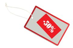 Sale Tag 50% Discount Label Isolated Closeup Macro Stock Photos