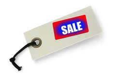 Sale tag against white Stock Photo