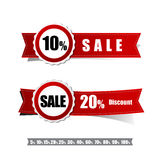 Sale tag banner red and ribbon element on white background Royalty Free Stock Photos