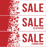Sale tag banner 3 sets , all , clothing , furniture with a lot of product  , set 1 Stock Image
