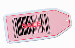Sale tag with barcode. Retail sale tag with barcode isolated on white Stock Images