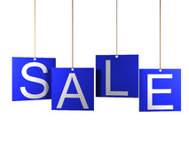 Sale tag on blue hanging labels.  Stock Image