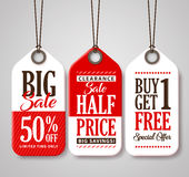 Sale Tag Design Collection Made of Paper with Different Titles for Promotion Royalty Free Stock Photo