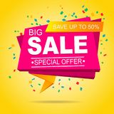 Sale tag  discount offer. On a yellow background Stock Photos