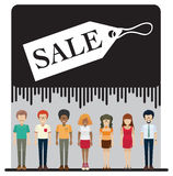 A sale tag with faceless people Stock Photography