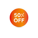 Sale tag. Fifty percent off. Vector. Sale tag with white text on orange sunny circle shape. Fifty percent off. Vector Stock Photos
