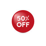 Sale tag. Fifty percent off. Vector. Sale tag with white text on red circle shape. Fifty percent off. Vector Stock Photos