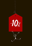 Sale tag with a figure of-10. On a black background Stock Photo