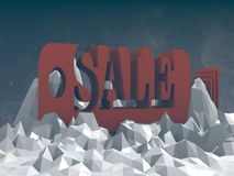 Sale tag icon on low poly surface Stock Image
