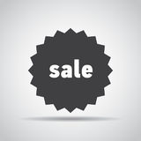 Sale tag icon with shadow on a gray background. Vector illustration Royalty Free Stock Photos