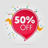 Sale tag isolated price offer. Illustration. Discount offer price label, symbol for advertising campaign in retail, sale promo marketing, fifty percent off Royalty Free Stock Photo