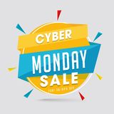 Sale tag or label with 30-80% discount offer on gray background. For Cyber Monday Sale stock illustration