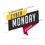 Sale tag or label with 50% discount offer on white background fo. R Cyber Monday sale vector illustration