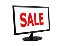 Sale tag and monitor Stock Photos