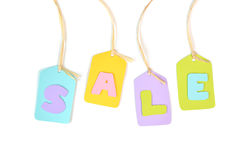 Sale tag paper cut on white background Stock Photos