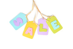 Sale tag paper cut on white background Royalty Free Stock Images