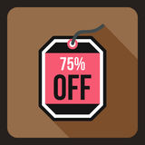 Sale tag 75 percent off icon, flat style Royalty Free Stock Photography