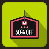 Sale tag 50 percent off icon, flat style. Sale tag 50 percent off icon in flat style on a green background vector illustration Royalty Free Stock Images