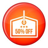 Sale tag 50 percent off icon, flat style Stock Images
