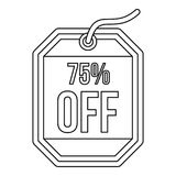 Sale tag 75 percent off icon, outline style. Sale tag 75 percent off icon in outline style on a white background illustration royalty free illustration