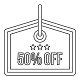 Sale tag 50 percent off icon, outline style. Sale tag 50 percent off icon in outline style on a white background illustration stock illustration