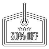 Sale tag 50 percent off icon, outline style Royalty Free Stock Photos