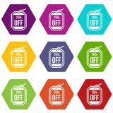 Sale tag 75 percent off icon set color hexahedron Stock Photography