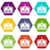 Sale tag 50 percent off icon set color hexahedron. Sale tag 50 percent off icon set many color hexahedron isolated on white vector illustration Stock Photography