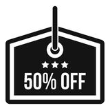 Sale tag 50 percent off icon, simple style Stock Photos