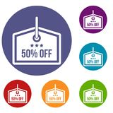Sale tag 50 percent off icons set. In flat circle reb, blue and green color for web Stock Images