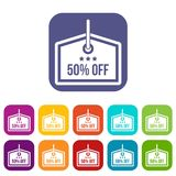 Sale tag 50 percent off icons set. Vector illustration in flat style in colors red, blue, green, and other Stock Images